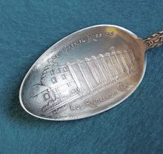Detailed SAN GABRIEL MISSION Sterling Silver Signed Antique Souvenir spoon from jewelpigs on Ruby Lane