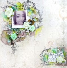 Layout by Song Li using the Salvage District Collection. #salvagedistrict #primaflowers
