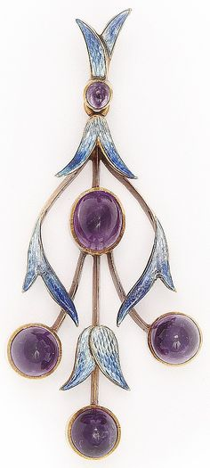 Mrs. Newman 1910 Floral Spray Pendant: gold-mounted enamel & amethyst. Mrs. Philip (Charlotte) Newman. English