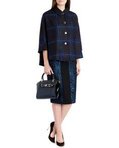 Check cape - Bright Blue   Jackets & Coats   Ted Baker UK