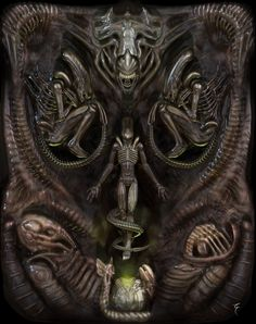 Study for 3D art inspired in the terrifying universe of the H. R. Giger.