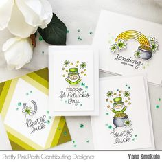 This is Yana and today I am sharing video tutorial showing how to make several Good Luck cards featuring Best of Luck stamp set. I have 4 easy to make card ideas that w… St Patricks Day Cards, Good Luck Cards, Pretty Pink Posh, Paddys Day, Card Tutorials, Cute Bunny, Hello Everyone, Thank You Cards, Card Making