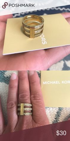 Michael Kors gold tone ring size 7 I just don't own much gold tone jewelry and never wear this ring. It comes with certificate and original pouch. Michael Kors Jewelry Rings