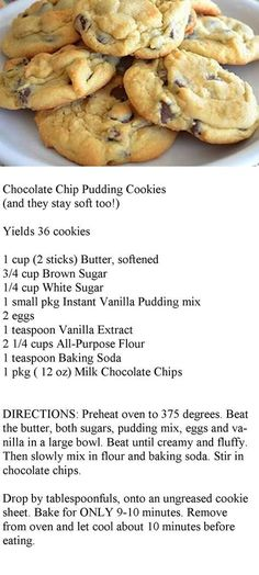 Chocolate Chip Pudding Cookies (and they stay soft too!) Made it with pistachio…