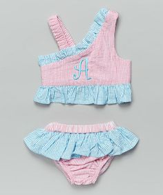 Loving this Pink & Aqua Seersucker Initial Sunsuit - Infant, Toddler & Girls on #zulily! #zulilyfinds
