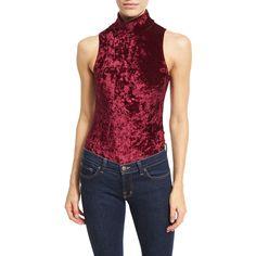 Little Black Bodysuit Crushed Velvet Sleeveless Bodysuit ($19) ❤ liked on Polyvore featuring intimates, shapewear and wine