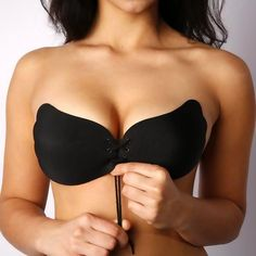 JYC A, Black Women Instant Breast Lift Invisible Silicone Push Up Bra