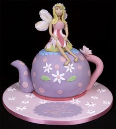 Does your daughter like fairies? Are you looking for Fairy birthday cake and cupcake decorations? If so than you are at the right place. Fairy Birthday Cake, Tea Party Birthday, Birthday Cakes, Birthday Ideas, Teapot Cake, Teapot Cookies, Fairy Tea Parties, Cute Cupcakes, Novelty Cakes