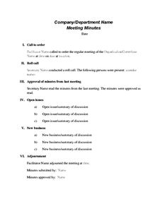 Meeting AgendaStaff MeetingStaff Meeting Minutes Template