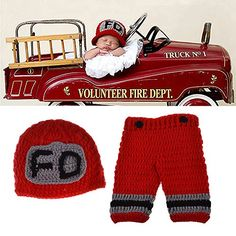 Baby Photography Props Handmade Crochet Knit Fireman Caps Pants Photo Costume Prop (0-12 Month) #handmade This adorable crochet outfit will look so lovely on your cute baby. Perfect for the baby birth announcement,baby shower gifts,Christmas,Halloween costume etc. The hat is made with a soft acrylic yarn and is slightly stretchy. Moreover, Very soft,comfortable and Breathable that won't hurt your baby's soft skin, make your baby more cute. Suitable for 0 to 12 months baby.Unisex desi..