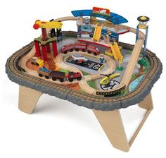 Toy Wooden Train Set Railway Transportation Station W/ Table Hours Of Fun NEW…