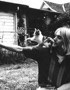 Nirvana's Kurt Cobain with a Kitten - Reminds me of the grunge scene in college at the UW...