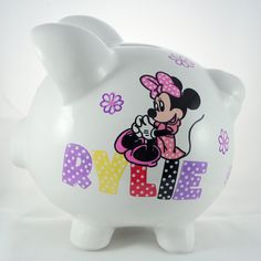 Minnie Bowtiqe Personalized Piggy Bank by NanyCrafts on Etsy @nanycrafts #minniemouse