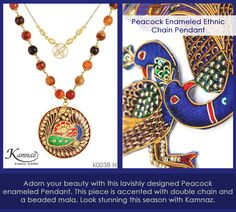 #KamnazJewellery Adorn your beauty with this lavishly designed Peacock  enameled Pendant. This piece is accented with double chain and a beaded mala. Look stunning this season with Kamnaz. #jewelry #jewellery #jewellerylovers #jewellerytrends #designerjewellery #indianjewellery #indianjewelry #traditionaljewellery #jewelryforwomen #jewellerytrends