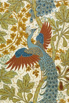 Walter Crane, Fig and Peacock, 1895 Portion of 'Fig and Peacock' wallpaper, a design of peacocks amongst the foliage of fig trees, on a pale ground; Colour woodblock print on paper; Produced by Jeffrey & Co. Peacock Wallpaper, Peacock Artwork, Art And Illustration, Walter Crane, Art Nouveau Pintura, Collage Kunst, Crane Design, Art Graphique, Ficus