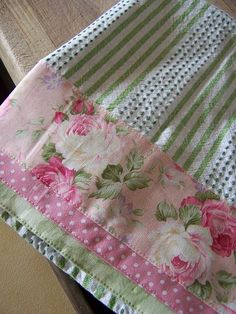 Shabby delicious pink and green kitchen towel