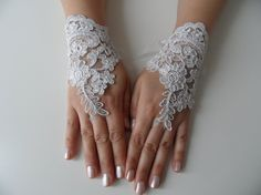 Free Ship Bridal Glove white silverembroidered lace by WEDDINGHome, $25.00
