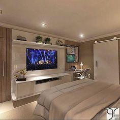 master room ideas New Ideas Bedroom Design Elegant Dream Rooms Bedroom Tv Stand, Bedroom Tv Wall, Home Decor Bedroom, Bedroom Furniture, Bed Room, Wall Tv, Bedroom With Tv, Wall Mural, Bedroom Shelving