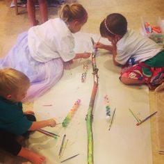 painting large branches; preschool crafts; nature; preschool nature crafts