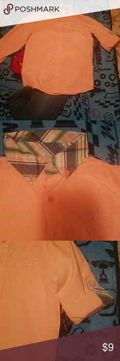 Big boys button down shirt Peach color button down shirt with plaid collar, can be styled with jeans or khakis Beverly hills polo Shirts & Tops Button Down Shirts