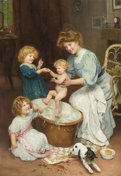 Baby's Bath Time Arthur John Elsely unknown date