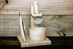 SHAVING KIT: Birdseye Maple Wood Shaving Kit (Wood Razor Stand, Wood Shave Bowl, Boar Hair Shave Brush) - Shaving Supplies Made in Canada