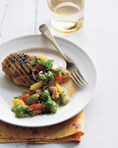 This grilled chicken with tomatillo-tomato salsa from Martha Stewart is great for sunny grill nights.