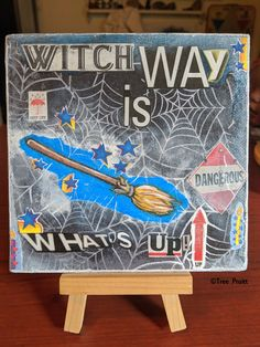 Witch Way Is What's Up Original Small Collage Painting on Canvas Board with Display Stand - witchcraft broom and sassy saying Sassy Quotes, Canvas Board, Small Art, New Things To Learn, Witchcraft, Mixed Media, Collage, Display, Halloween