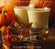 Casa Noble's Thanksgiving Cocktail special is a fresh and spicy Pumpkin-tini, made with Casa Noble Reposado tequila.   1 ½ oz. Casa Noble Reposado Tequila 3 oz. half-and-half ½ oz. Pumpkin Spice Syrup Cinnamon for garnish  Add ice to a cocktail shaker, followed by ingredients. Shake well and strain into short glass, garnish with cinnamon powder.  #TheGiftOfTaste