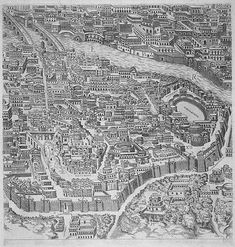 """Pirro Ligorio's """"Antiquae Urbis Romae Imago"""" (Image of the Ancient. Ancient Ruins, Ancient Rome, Rome Map, City Drawing, Roman Architecture, Greek History, Printable Adult Coloring Pages, Italy Tours, Travel Illustration"""