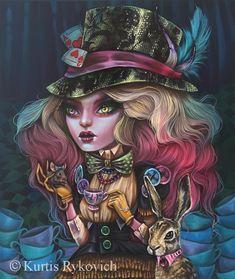 Kurtis Rykovich Alice Sweet Alice t Kurtis Alice and Lewis Carroll, Arte Horror, Horror Art, Arte Lowbrow, Gothic Fantasy Art, Dark Fantasy, Goth Art, Creepy Cute, Fairy Art