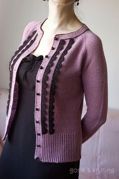 Miss Mary is tiny, fitted, vintage-inspired feminine cardigan. The cardi is worked in stockinette stitch, from the top down, in one piece with raglan shaping and features contrasted buttons and fri. Miss Mary, Stockinette, Ravelry, Vintage Inspired, Contrast, Men Sweater, Feminine, One Piece, Pullover