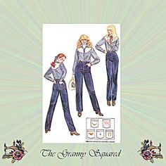 Straight Leg Jeans with High Waist and Pocket by TheGrannySquared