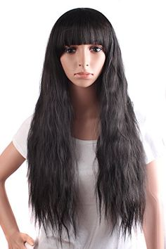 MapofBeauty Beautiful Womens Flat Bang Long Wave Curly Wig Black ** Check this awesome product by going to the link at the image.Note:It is affiliate link to Amazon. #allshots