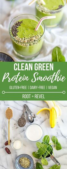 This healthy lean Green Protein Smoothie recipe is inspired by NYC's Juice Press--it's dairy free full of and vegan protein (chia seeds hemp seeds and almond butter) and a clean alternative to traditional protein shakes for weight loss and opt Green Protein Smoothie Recipe, Smoothie Bowl Vegan, Smoothies Vegan, Smoothie Proteine, Fruit Smoothies, Clean Smoothie, Smoothie Cleanse, Smoothies For Dinner, Dairy Free Smoothie
