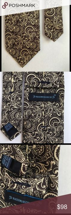 MASSIMO BIZZOCCHI 👔silk men's tie QUALITY 👍 Massimo Bizzochi is known for making the finest quality silk ties in the world. This tie has plenty of heft to it, nothing flimsy here! The back includes a loop to feed the narrow end of the tie through.  This tie is dark brown with a cream colored design. This tie is impressive! Made in Italy 🇮🇹. massimo bizzocchi Accessories Ties