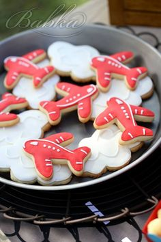 Little Wish Parties | Airplane Third Birthday Party Cookies | https://littlewishparties.com