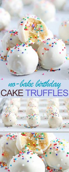 No-Bake Birthday Cake Truffles that very delicious. Please find detail and step … No-Bake Birthday Cake Truffles that very delicious. Please find detail and step … – Cake Ball Recipes, Dessert Cake Recipes, Cupcake Recipes, Birthday Cake Flavors, Birthday Cake Pops, Birthday Cake Cookies, Homemade Desserts, Homemade Cakes, Cake Batter Truffles