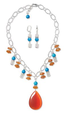 Single-Strand Necklace and Earring Set with Cat's Eye Glass Focal, Gemstone Beads and SWAROVSKI ELEMENTS  CB4H