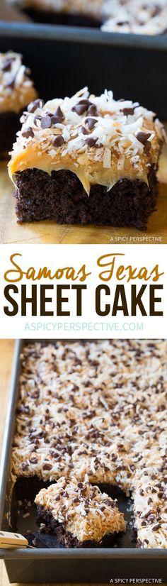 Amazing Samoas Texas Sheet Cake Recipe via /spicyperspectiv/ Sheet Cake Recipes, Cupcake Recipes, Baking Recipes, Dessert Recipes, Sheet Cakes, Recipe Sheet, Frosting Recipes, Pan Recipe, Dessert Simple
