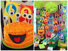 Monster birthday cake, cake pop eyes!