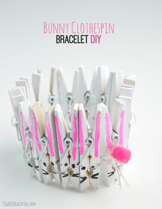 Bunny Clothespin bracelet craft idea for kids by Club Chica Circle