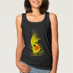 Cockatiel parrot tribal tattoo basic tank top Tank Tops
