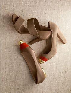 My favorite combo: Gold, Red-Orange and Nude.  Need these in my life.