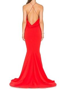 Shop Red V-neck Ruched Backless Plain Cami Floor Length Dress from choies.com .Free shipping Worldwide.$22.99