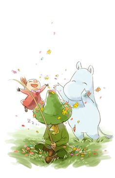 rare picture of little my looking super happy , snufkin is just cool autumn days art to make you happy moomin style Муми-трлль, Снусмумрик и Малышка Мю Moomin Wallpaper, Iphone Wallpaper, Les Moomins, Parc A Theme, Moomin Valley, Tove Jansson, Animation, Little My, Kids Cards