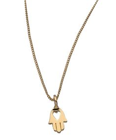 Twig Gold Hamsa Heart Necklace