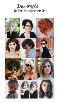 Inspirações de cortes de cabelos curtos | Cortes retos, assimétricos, com franja para cabelos lisos, ondulados e cacheados