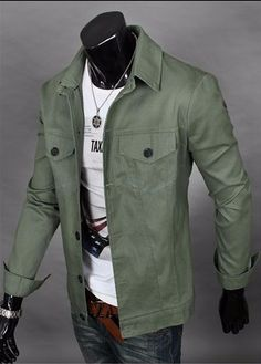 Casual Moto Jacket. Material: Cotton, Polyester. Clothing Length: Regular. Collar: Turn-down Collar.Color: Army Green. unique-outfit.com