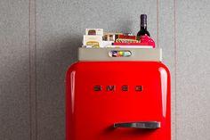 Brightred mini-fridge by Smeg.